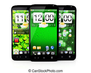 Touchscreen smartphone on white background - 3D render
