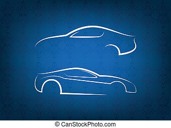 White car logos on floral background