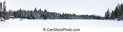 Panorama of frozen lake with log cabin - XXXL panorama of a...