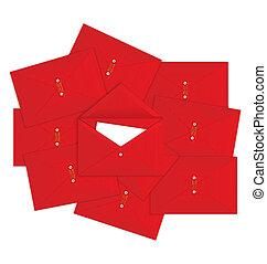 Red envelope on top vector