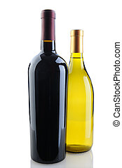 Chardonnay and Cabernet Wine Bottles - Close up of a...