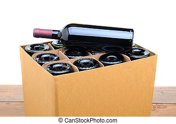 Case of Wine with Bottle on Top - Closeup of a case of wine...