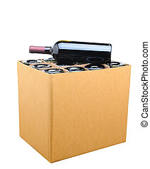 Case of Wine Isolated - Closeup of a case of wine with one...