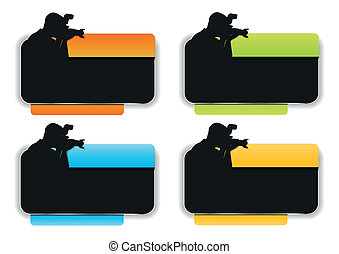 Vector background with silhouette of the photographer -...