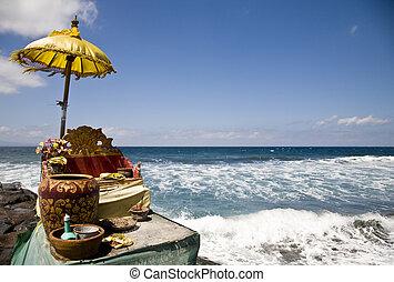 Ocean shrine - Balinese offering shrine at the ocean