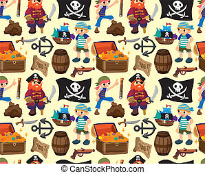 seamless pirate pattern,cartoon vector illustration