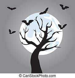 tree - vector tree with bats