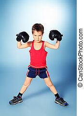 boxer boy - Portrait of a sporty boy engaged in boxing