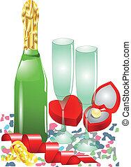 confetti, champagne,