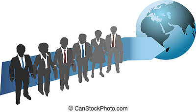 Business people work for global future