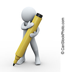 3d person and marker - 3d Illustration of man holding...