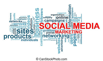 Social media marketing word tags - Illustration of wordcloud...
