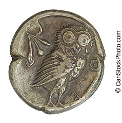 Antique Greek Silver Coin - Antique silver Greek coin from...