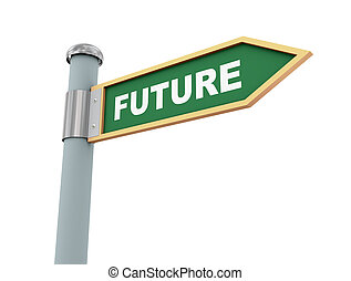 Road sign future - 3d illustration of road signs of word...