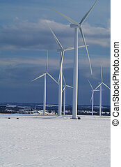 Wind Turbines in a winter field