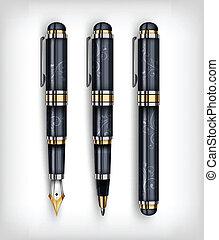 Fountain pen, creative concept - Black fountain pen, icon...