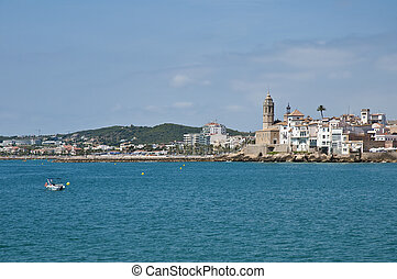 Village skyline at Sitges, Spain - Sitges skyline as seen...