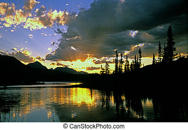Jasper Lake Sunset - With a little help from forest fire...