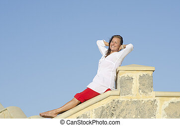 Happy relaxed mature woman outdoor - Portrait Attractive...