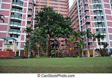 Colorful Singapore public housing - Front view of a high...
