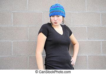 Female tomboy. - Female tomboy expressions outside.