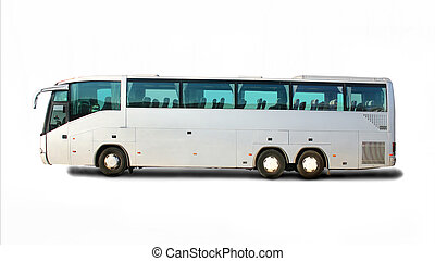 tourist bus isolated - big tourist bus on white background