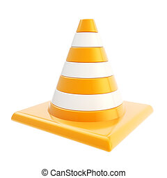Roadworks orange glossy cone isolated on white background