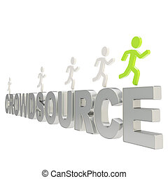 Human running symbolic figures over the word Crowdsource -...
