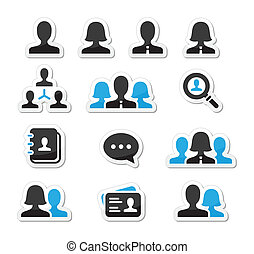 Businessman businesswoman icons - Modern black and blue...