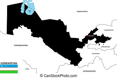 uzbekistan map - very big size uzbekistan political map with...