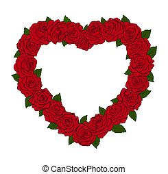The frame in the form of a silhouette of the heart, bordered with flowers roses and leaves. Great item for card designs