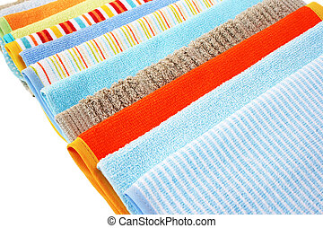 Towels - Colorful towels on white background.