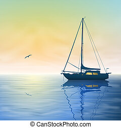 Sailing Boat - A Sailing Boat with Misty Sunset and...