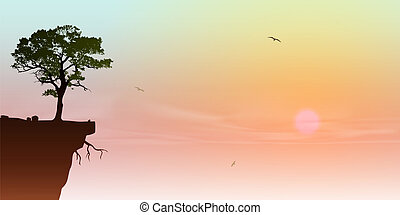 Tree on a Cliff - A Tree on a Cliff with Sunrise, Sunset