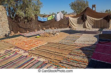 Bedouin tent - many bedouin tents in the desert of morocco