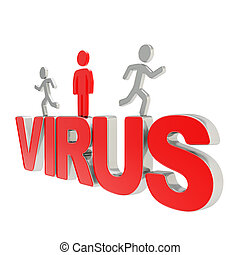Human running symbolic figures over the word Virus - Virus...