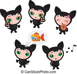 Cute funny kitten set vector illustration