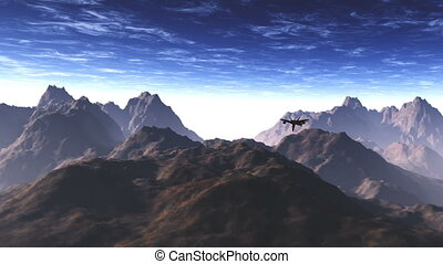 Jet Fighter over Mountains 1 - High tech Jet Fighter over...