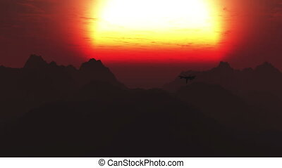 Jet Fighter over Mountains 2 sunset