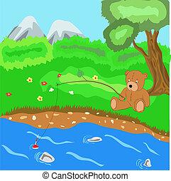 teddy bear - The teddy bear catches fish, vector...