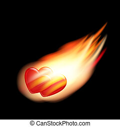 two burning hearts