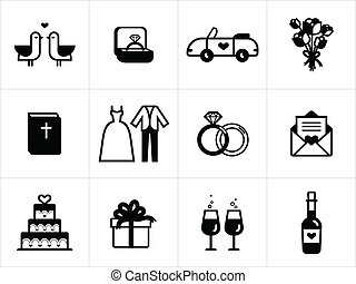 Wedding icons in black and white