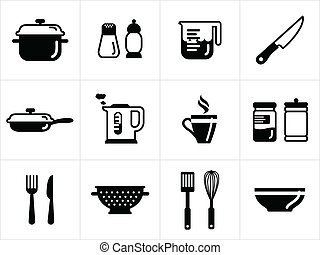 Kitchen icons in black and white