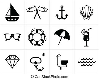Summer sea icons in black and white