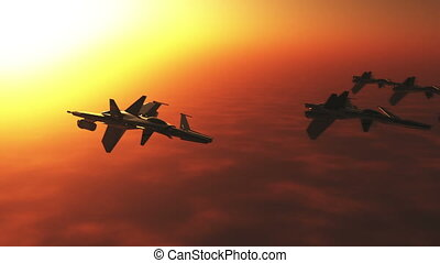 Jet Fighters 1 sunset - High tech Jet Fighter over Mountains...