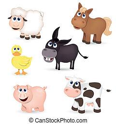vetorial, fazenda, animais