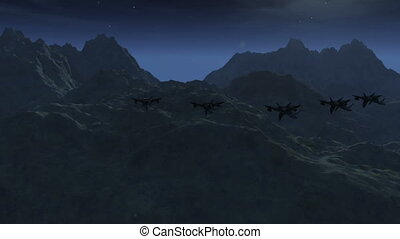 Jet Fighters 4 night - High tech Jet Fighter over Mountains...