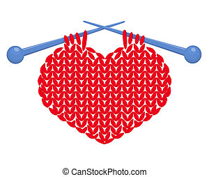 Knitted heart isolated - Knitted red heart on needles Vector...