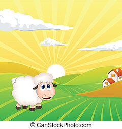 Vector Landscape with Sheep - Vector of an Evening Landscape...