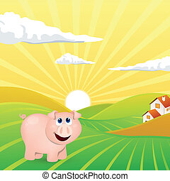 Vector Landscape with Pig